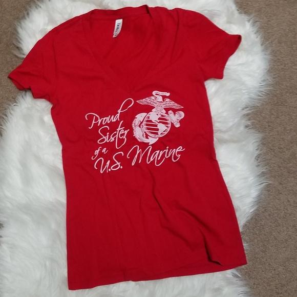 Tops Red V Neck Tshirt Proud Sister Of A Us Marine Sm Poshmark